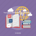 book, cloud, e-book, knowledge, online icon