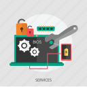 locked, phone, repair, services, setting, technology icon