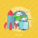 business, global, money, rocket, start up, technology icon