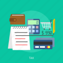 calculator, cart, credit card, marketing, money, tax, wallet icon