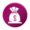 cash, dollar, finance, money, sack icon