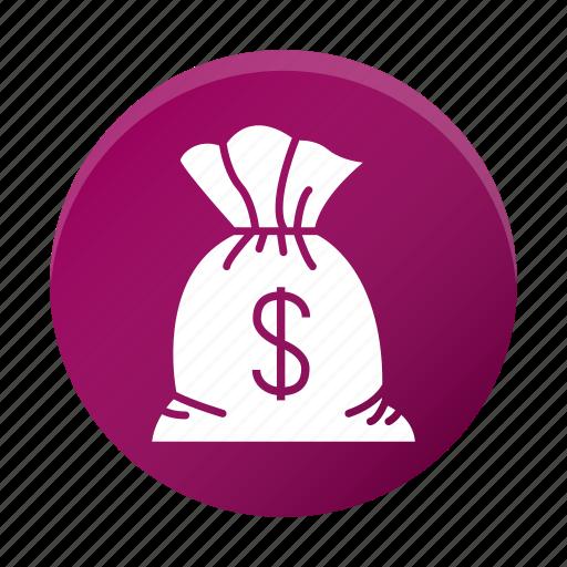cash, dollar, finance, money, sack icon