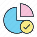 chart, checked, done, ok, pie chart, verified, verify icon icon