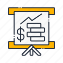 business graph, diagram, finance, flipchart, graph, presentation, statistics icon