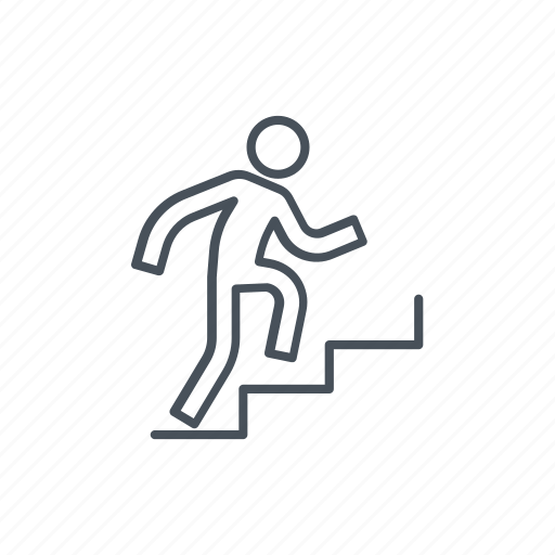 climb, climbing, man, men, run, stair, stairs icon