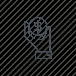 bag, dollar, economy, hand, money, sack, wealth icon