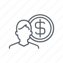 business, coin, currency, dollar, man, money, trade icon