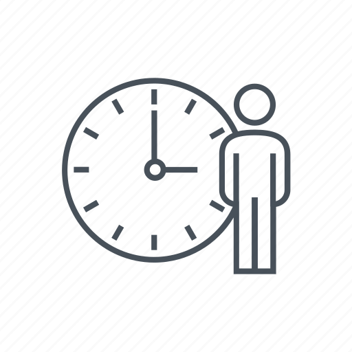 business, clock, man, men, standing, time, working icon