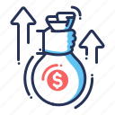 income, money sack, profit, wealth icon