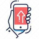 app, hand, holding, mobile, phone icon
