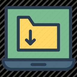 archive, computer, document, folder, laptop icon