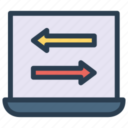 arrows, computer, direction, notebook, pointer icon