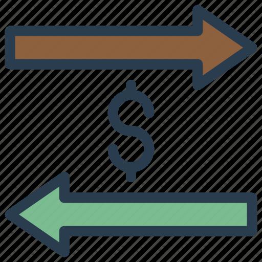 arrows, cash, dollar, money, transfer icon