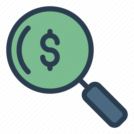 audit, dollar, glass, magnifier, search icon
