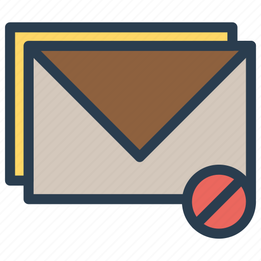 block, inbox, mail, message, stop icon