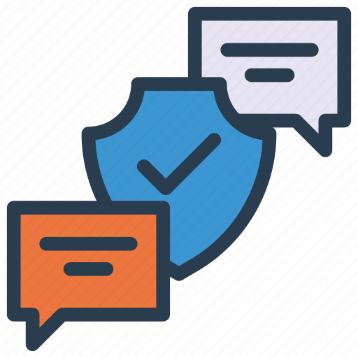 chat, conversation, message, security, shield icon