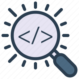 coding, magnifier, programming, scripting, search icon