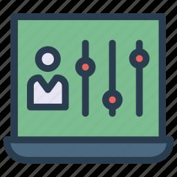 account, control, equalizer, mixer, profile icon