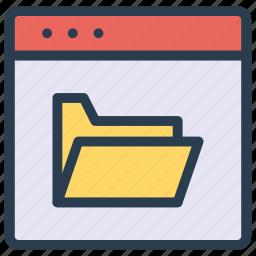 folder, internet, online, storage, webpage icon