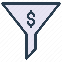 dollar, filter, finance, funnel, sort icon