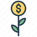 cash, dollar, growth, increase, success icon