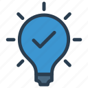 bulb, check, idea, light, tick icon