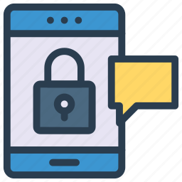 bubble, chat, lock, mobile, phone icon