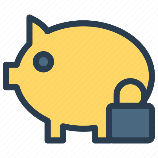 bank, finance, lock, piggy, secure icon
