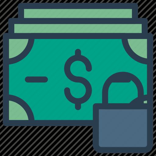 cash, dollar, lock, money, protection icon