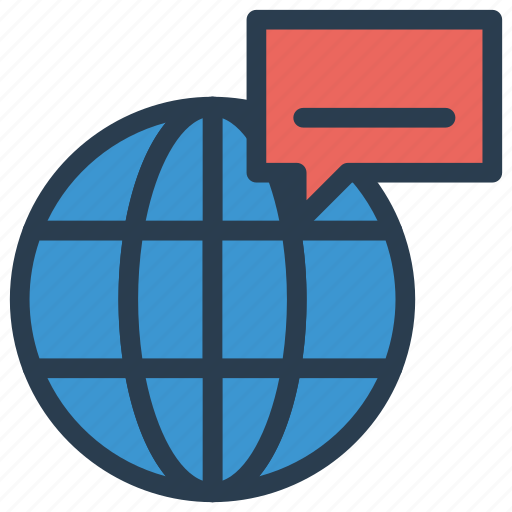 bubble, chat, global, message, world icon