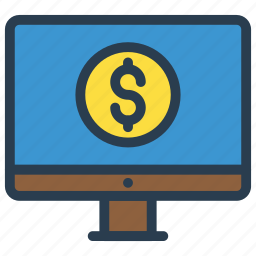 lcd, monitor, online, payment, screen icon