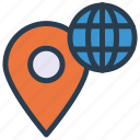 earth, map, pin, pointer, world icon