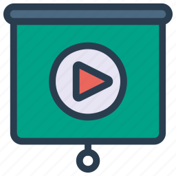 conference, media, meeting, play, video icon
