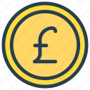 cash, coin, dollar, money, pound icon