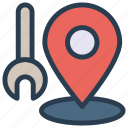 gps, map, marker, repair, tools icon