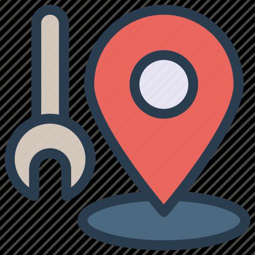 gps, map, marker, repair, tools icon