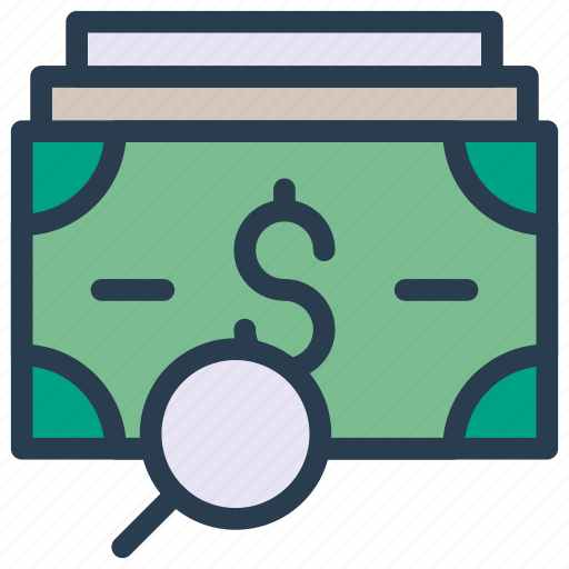 cash, dollar, magnifier, money, search icon