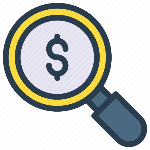 audit, dollar, find, magnifier, searhc icon