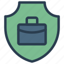 bag, briefcase, portfolio, security, shield icon