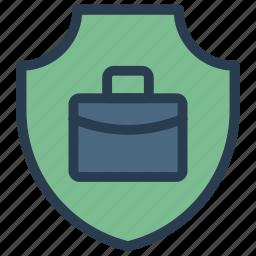 bag, briefcase, portfolio, security, shield icon