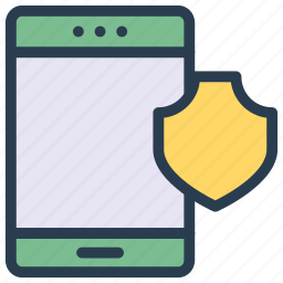 device, mobile, phone, security, shield icon