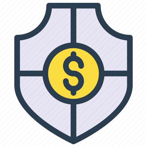 dollar, money, protection, security, shield icon