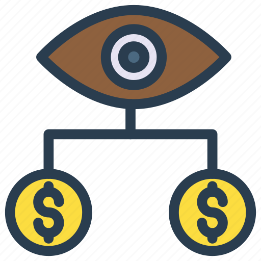 connection, dollar, eye, network, view icon