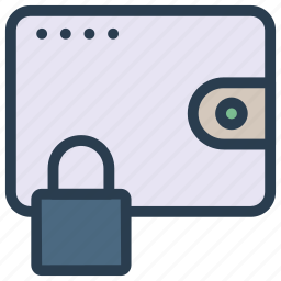 lock, protection, purse, saving, wallet icon