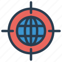 earth, focus, global, target, world icon