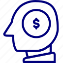 bukeicon, coin, dollar, head, investment, mind, money icon