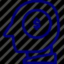 bukeicon, coin, dollar, head, investment, mind, money