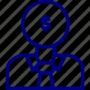bukeicon, character, coin, dollar, head, man, money icon