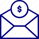 bukeicon, business, dollar, envelope, finance, money, transfer icon