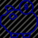 bukeicon, business, coins, finance, money, pig, savings icon